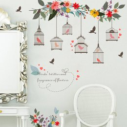 bird window stickers 2019 - Vinyl Self Adhesive Birds Cage Wall Sticker Removable Home Decor Mural TV Background Window Art Decal Leaves DIY Wall Pa