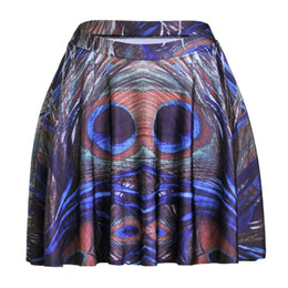 Sport apparel women online shopping - 3D Peacock Feather Women Sexy Pleated Skirts Tennis Bowling Bust Shorts Skirts Slim Female Fitness Sport Apparel A Style