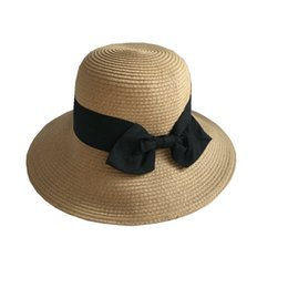 2018 New Women Beach Holiday Bow Color Collision Dome Straw Bucket Hat  Sweet Lady Korean Style Simple Sunshade Hat Fisherman 294e4222a5e2