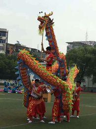 3ab4a1c0f 7m Length Size 5 silk print fabric 6 student Chinese DRAGON DANCE ORIGINAL Dragon  Chinese Folk Festival Celebration Costume mascot