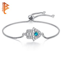 Hamsa Hand silver bracelets online shopping - BELAWANG Blue Opal Crystal Evil Eye Hamsa Alloy Bracelet Silver Charm Bracelet Hand of Fatima Adjustable Bracelet for Women Fashion Jewelry