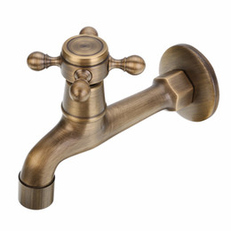 Quality kitchen taps online shopping - 2017 Antique Wall Mounted Brass Tap Kitchen Bathroom Single Faucet Tap Washing Machine Replacement High Quality Mayitr