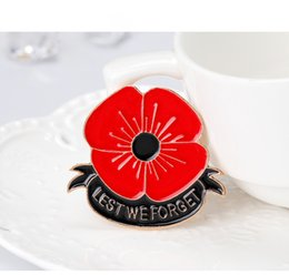 Wholesale The Classical Enamel Red Color Brooch Pin Badge Golden Flower Remembrance Day Gift quot Lest We Forget quot