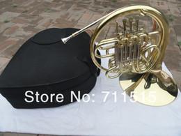 Venta al por mayor de Doble hilera 4 llave rayada Cuerno francés F Bb llave raya francesa chapado en oro con caja de nylon Instrumento de viento de bronce con caja de la boca