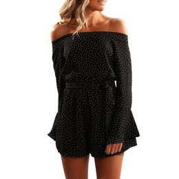 Off Shoulder Black Summer Jumpsuits Canada - Summer sexy Rompers womens jumpsuit Polka Dot Long Sleeve Off Shoulder Jumpsuit Playsuit Macacao feminino Overall Bodysuit women