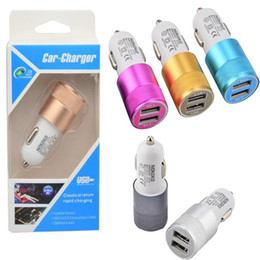 $enCountryForm.capitalKeyWord NZ - 5V 2A Aluminum Car-charger Universal Dual 2 USB Car Charger For iPad For iPhone 8 7 6 Mini Power Adapter Car-Charger With retail box