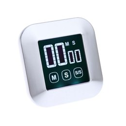Wholesale 1Pc Cooking Timer Square LCD Digital Touch Screen Practical Alarm Clock Kitchen Tool