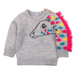 Wholesale 2018 hot sale Newborn Infant Baby Long Sleeve lovely Cartoon Horse Tassel Knitted Tops comfortable soft Clothes for baby tops