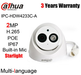 2mp network camera NZ - Dahua Original IPC-HDW4233C-A 2MP 1080P H.265 H.264 Starlight Dome IP Camera IR 50m Built-in Mic IP67 Network Camera HDW4233C-A