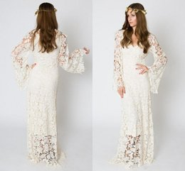 611675ed74 Vintage-Inspired Bohemian Wedding Dresses Bell Sleeve Lace Crochet Ivory or  White Hippie Wedding Dress Boho Embroidered Maxi Bridal Gowns
