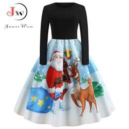 279e6763b63 Women Santa Christmas Dress 2018 Winter Long Sleeve Xmas Swing Vintage  Dresses Elegant Print Midi Party Dress Plus Size Pin Up