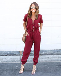 High Quality Jumpsuits Australia - High quality Sexy V-Neck Pleated Waist Pocket Rompers Jumpsuit clothes Loose Cross Overalls Black Red Short Sleeve Playsuit