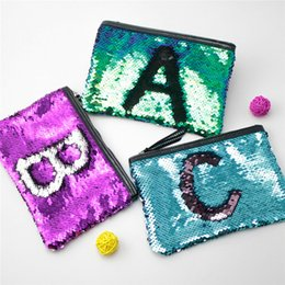 sequin bag clothing 2018 - 9 Colors Sequin Cosmetic Bag Mermaid Sequin Clutch Purse Mermaid Makeup Cosmetic Bag Glitter Sequins Coin Storage Bags c
