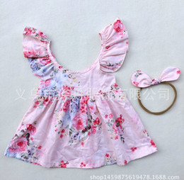 Wholesale 2018 INS baby girl toddler Kids Summer clothes Pink Blue Rose Floral Dress Jumper Jumpsuits Halter Neck Ruffle Lace Sexy Back with headband