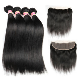 Indian Human Bulk Hair Straight Australia - Siyusi Indian Straight Virgin Hair Bundles With 13X4 Lace frontal Closure Human Hair Extensions Human Weave Bundles With Closure Top Bulk