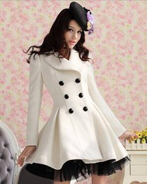 Discount gothic trench coats - Womens Double-Breasted Lolita Cute Gothic Coat Long Mesh Trench Princess Lapel C300