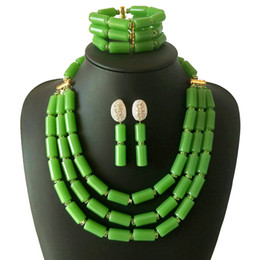 $enCountryForm.capitalKeyWord NZ - 2018 Newest Women African Wedding Beads Jewelry Set Nigerian Green Coral Beads Bridal Statement Necklace Bracelet Earrings Set Free Delivery