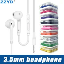 Discount s6 earphones packages - ZZYD 3.5mm In Ear Earphone Headphone with Mic and Remote Volume Control headset For Iphone 6 7 Samsung S6 With retail pa