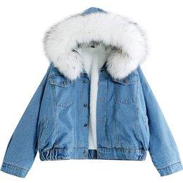 Jackets & Coats 2019 Winter Womens Denim Jacket Fur Collar Thick Velvet Jeans Jacket Female Plus Size Warm Parkas Lambswool Bomber Coats Girl