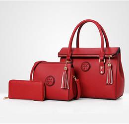Best tote Bag pockets online shopping - Best selling New Luxury PU Leather Tassel Handbag Women Bag Female Wallet Clutch Composite Bags Set Lady Shoulder Crossbody