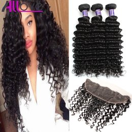 Discount peruvian hair bundles 16 inches - Wholesale Cheap 8A Brazilian Hair Wefts Deep Wave Hair Bundles With Lace Frontal Closure 3Bundles With 13x4 Ear to Ear L