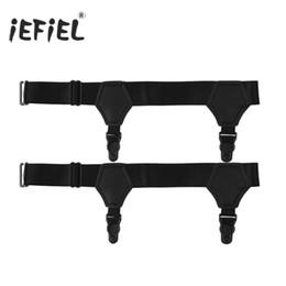 Green Plastic Army Men Australia - iEFiEL 1 Pair Men Double Clip Adjustable Elastic Leg Harness Sock Suspender Garter Belt with Plastic Clips Costume Accessories