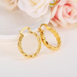 Thai earrings online shopping - 22K K K Thai Baht YELLOW GOLD GP EARRINGS Hoop E India Jewelry Brincos Top Quality Wave