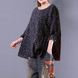 $enCountryForm.capitalKeyWord NZ - ZANZEA Women Spring O Neck Long Sleeve Oversized Cotton Linen Blouse Casual Floral Print Ruffle Baggy Shirt Loose Retro Top