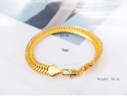 gold bone link chain Canada - 10%off classic Men jewelry superior quality 8inck*9mm Oblate snake bone Gold Bracelet 18K gold Bracelet Valentine's day gifts