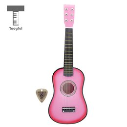 string instruments kids 2019 - wholesale 23'' 6-String Folk Acoustic Guitar Wood Musical Instrument with Pick for Beginners Music Lovers Studen