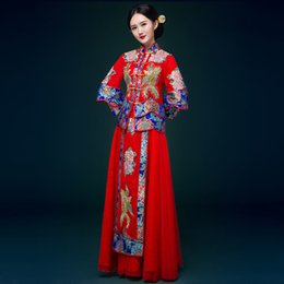 $enCountryForm.capitalKeyWord Canada - Retro Ladies chinese Sexy Flying bird pattern embroidery suit Bride Gown