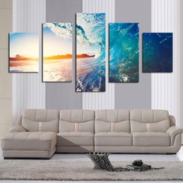 Art Canvas Prints Australia - Art Canvas Painting Poster Print 5 Panels Beautiful Sea view Landscape Wall For Living Room HD Home Decor Frame Modular Pictures