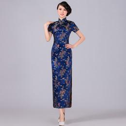 Navy blue Chinese Traditional Dress Women Satin Qipao Dragon Phenix Long Cheongsam  Plus Size S M L XL XXL XXXL 4XL 5XL 6XL LF-04 938a0ec76955