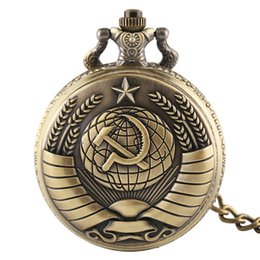 Antique Necklace Australia - Antique Russia Soviet Sickle Quartz Pocket Watch Vintage hammer Style Steampunk Necklace Pendant for Gift reloj mujer