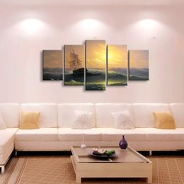 Piece Abstract Canvas Wall Prints NZ - 5 pieces high-definition print andscape canvas oil painting poster and wall art living room picture PL5-115