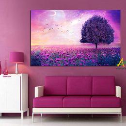 a0152162a981ef 2018 purple wall canvas YWDECOR Tree on Purple Flower Sea Creative Canvas  Painting Bird Sky on