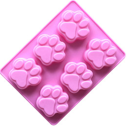 Discount cat silicone mould - DIY bear paw print Ice Cube cake jelly mold 2018 new Tasteless nontoxic Silica gel 6 Cat paw mould B