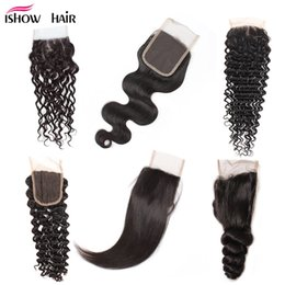 Discount human laces - 8A Cheap Brazilian Human Hair Closure 4*4 Waterwave Peruvian Hair Deep Body Loose Wave Straight Free Part Swiss Lace Clo