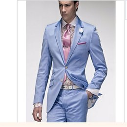 men wedding beautiful suits 2019 - Two Button Liht Blue Satin Groom Tuxedos Beautiful Men Formal Suits Men Wear Wedding Prom Dinner Suits Custom Made(Jacke