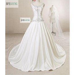 $enCountryForm.capitalKeyWord NZ - New Fashion Ivory A-Line Real Photos Scoop Satin Pleat Embroidery With Sequins Bridal Gowns Sexy V-Back Chapel Train Wedding Dress