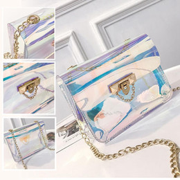 Cosmetic Bags Locks Australia - Women Messenger Bags Hologramic Laster Shining Casual Girl Handbag Shoulder Jelly Small Tote Crossbody Evening Purse Cosmetic Chain Bag