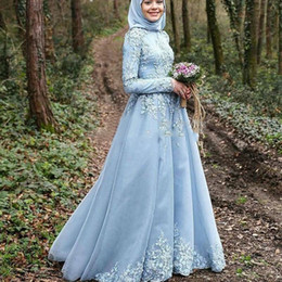 robe soiree courte 2019 - Evening Party 2018 Sky Blue Long Sleeve Muslim Evening Dress robe de soiree courte Hijab Turkish Prom Party Gowns with L