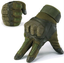 Full Finger Paintball Gloves Canada - Touch Screen Military Tactical Rubber Hard Knuckle Full Finger Gloves Army Paintball Shooting Airsoft Bicycle PU Leather for Men