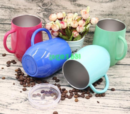 Stainless Tumblers NZ - Pre-sale 2018 New Unique Party 350ml Stainless Steel Cups Powder Coated Fashion Egg Shaped Wine Glass Travel Beer Mugs Tumblers With handle