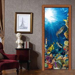 $enCountryForm.capitalKeyWord NZ - Cartoon Seafloor world turtle 3D Effect Door Sticker Mural DIY PVC Self-adhesive Waterproof Modern Bedroom WallPaper Living Room Decoration