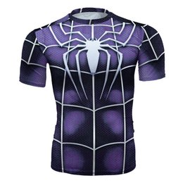 $enCountryForm.capitalKeyWord NZ - Men's fashion creativity purple t-shirt superman Spider-Man tights tee superhero sport short sleeves cycling fast dry basketball vest
