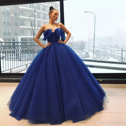 $enCountryForm.capitalKeyWord NZ - Blue Elie Saab Prom Dresses A Line Ball Gown Petticoat Floor Length Evening Gowns Custom Made Special Occasion Quinceanera Dress Party Wear