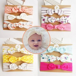 $enCountryForm.capitalKeyWord NZ - New 3ps set handmade cotton bow headband girls hair accessories bowknots hairband for kids hair ornaments turban