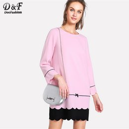 Dotfashion Tipping Detail Two Tone 2018 Spring Round Neck Short Sleeve Bow  Scallop Colorblock Dress Women Shift Casual Dress 4cc1d1b1b