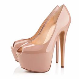 995c86a1e6b3d7 Großhandel Frau Schwarz   Nude Super High Plattform High Heels Sexy Peep  Toe Nachtclub Tragen Pumps Lady Dress Heels